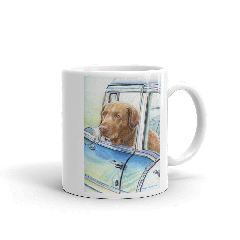 """He Rides Shotgun"" Chesapeake Bay Retriever 11oz Coffee Mug"