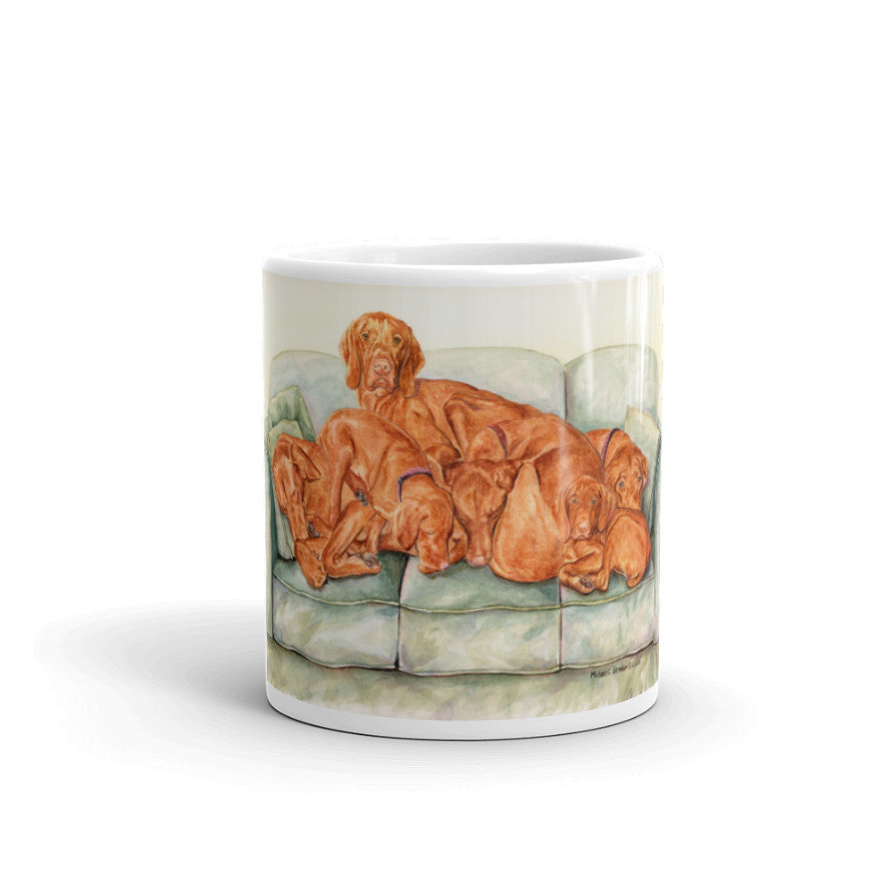 """Dog Pile"" Vizlsa 11oz Coffee Mug"