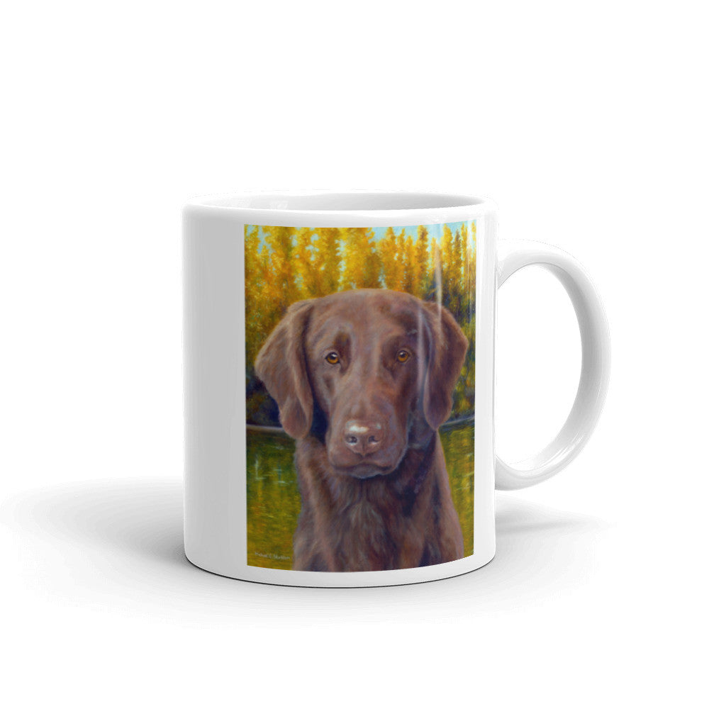 """Flat Coat Fall"" Flat Coated Retriever 11oz Coffee Mug"