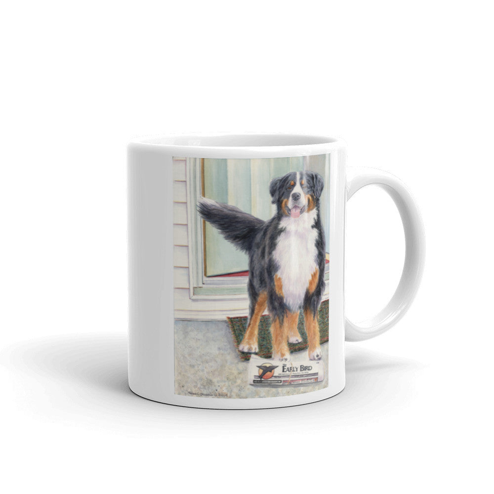 """Paper Boy"" Bernese Mountain Dog 11oz Coffee Mug"