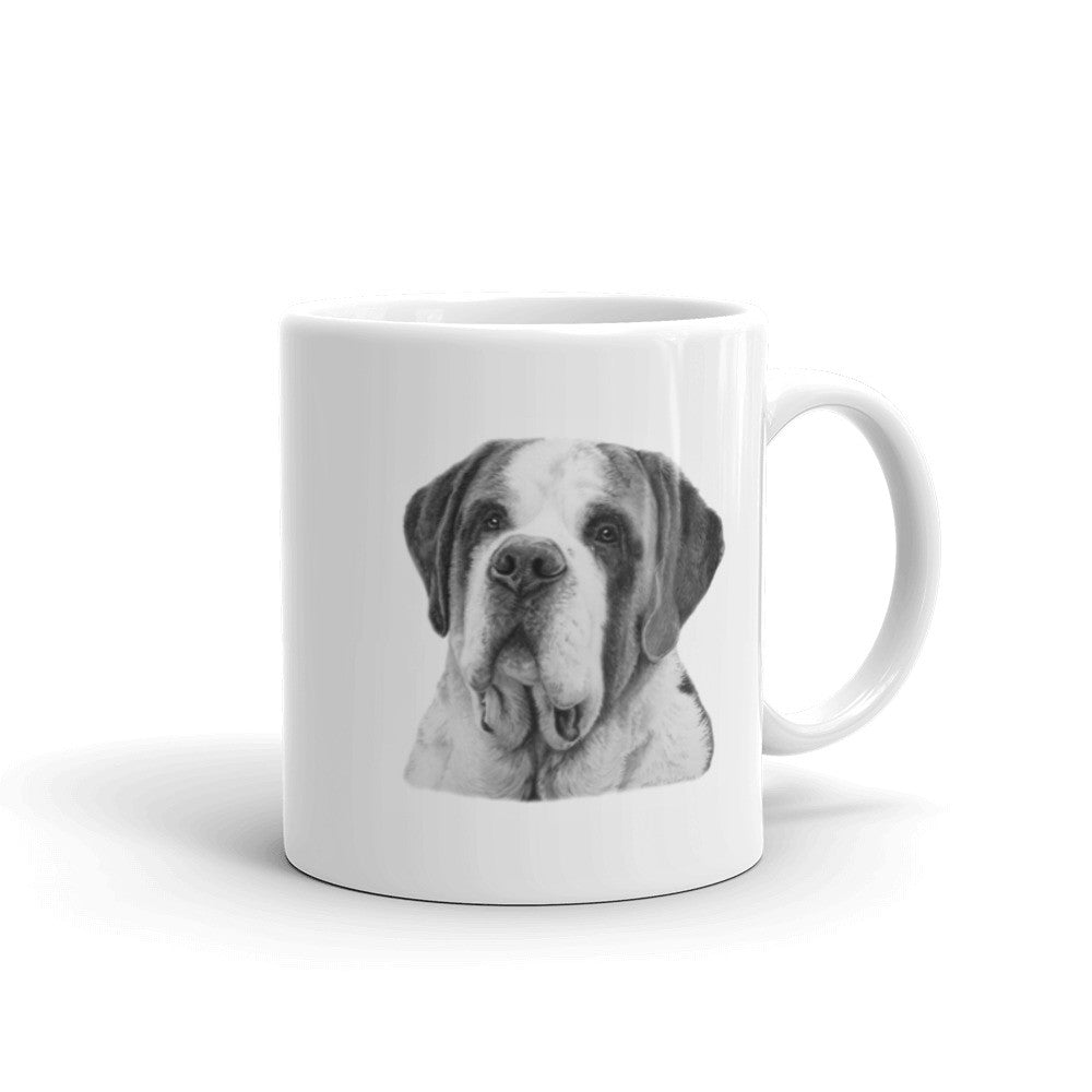 Saint Bernard Pencil Head Study 11oz Coffee Mug