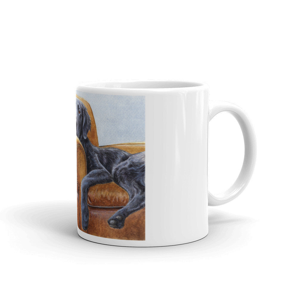 """Master's Chair"" Flat Coated Retriever 11oz Coffee Mug"