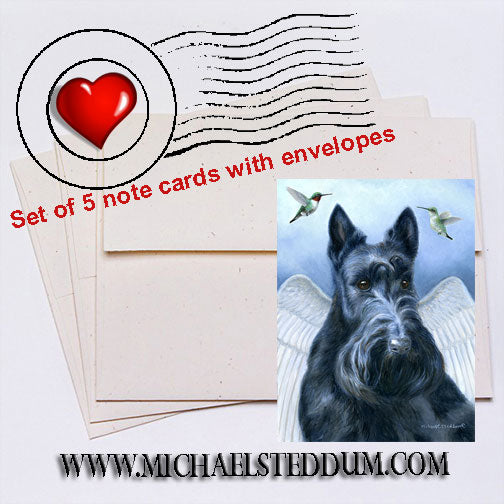 Angel Wings, Scottish Terrier Note Card Set
