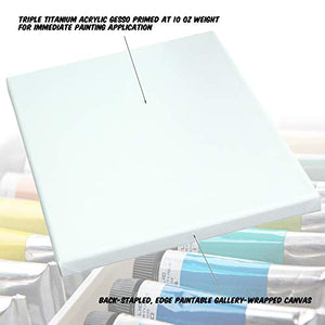 "Acrylic Gesso Primed Stretched Art Canvas Oil Paint 11x14"" 2-Pack"