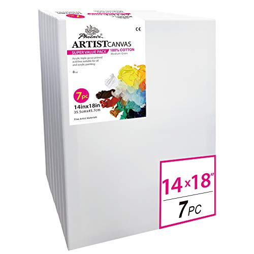 White Blank Cotton Stretched Canvas Artist Painting - 14x18 Inch / 7 Pack - 5/8 Inch Profile Triple Primed for Oil & Acrylic Paints