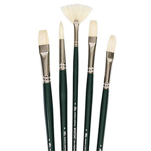 Winsor & Newton Winton Long Handle Brush (5 Pack) (Round 6, Filbert 6, Flat 6, Bright 8, Fan 3)