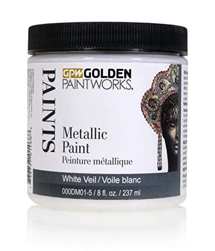 Golden Paintworks Metallic Paint, 8 oz. Jar, White Veil