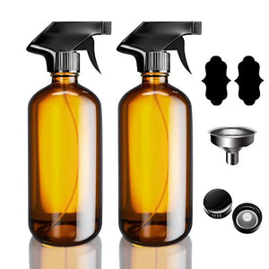 17oz Empty Glass Spray Bottles, VICSAINTECK 2 Pack Amber Durable Reusable Refillable Container with Black Trigger Mist and Stream Settings for Essential Oils, Aromatherapy, Cleaning Solutions