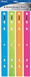 Ruler, 12 Inches, 1 Pack of 4 Rulers