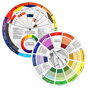 Creative Color Wheel, Paint Mixing Learning Guide Art Class Teaching Tool for Makeup Blending Board Chart Color Mixed Guide Mix Colours (9.25inch)