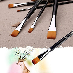 Flat Tipped Brushes with Case for Acrylic Oil Watercolor, Artist Professional Painting Kits with Synthetic Nylon Tips, Long Wood Handle