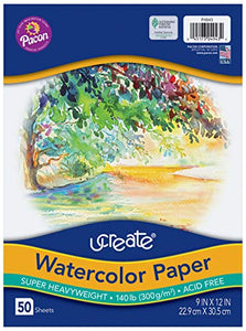"Watercolor Paper, White, Package, 140 lb., 9"" x 12"", 50 Sheets"