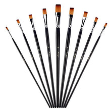 Load image into Gallery viewer, Flat Tipped Brushes with Case for Acrylic Oil Watercolor, Artist Professional Painting Kits with Synthetic Nylon Tips, Long Wood Handle