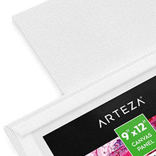 "Load image into Gallery viewer, Arteza 9x12"" White Blank Canvas Panel Boards, Bulk Pack of 14, Primed, 100% Cotton for Acrylic Painting, Oil Paint & Wet Art Media, Canvases for Professional Artist, Hobby Painters & Beginners"