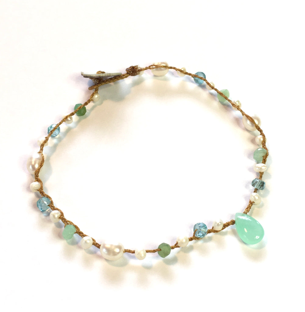 Chrysoprase Teardrop, Apatite and Freshwater Pearl Bracelet