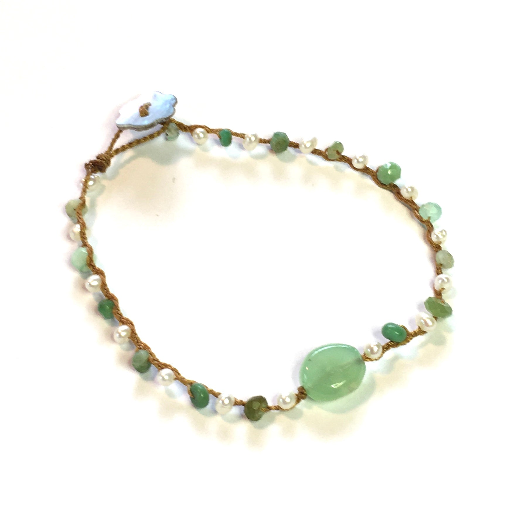 Smooth Chrysoprase with Chrysoprase and Pearls