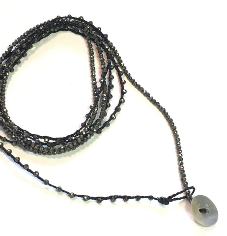 Pyrite Long Necklace or Wrap Bracelet