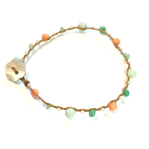 Coral, Chrysoprase, Pearls and Amazonite Bracelet
