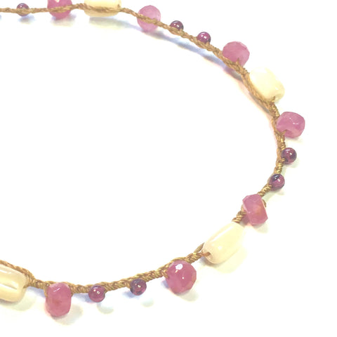 Ruby, Garnet and Mother of Pearl Bracelet