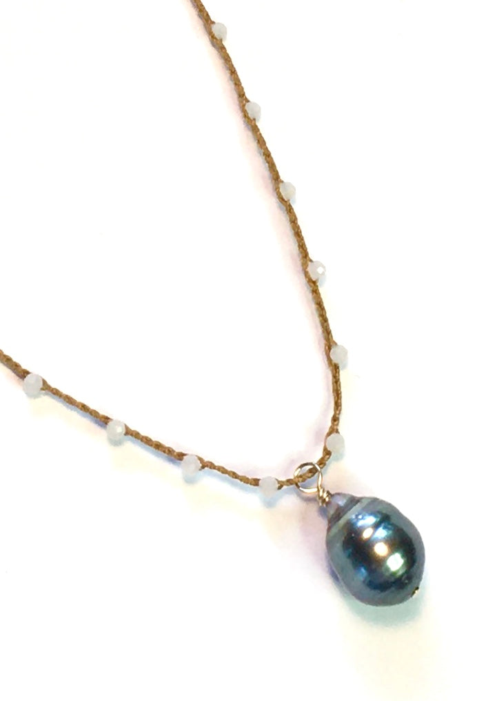 Tahitian Pearl with Peach Moonstone Necklace