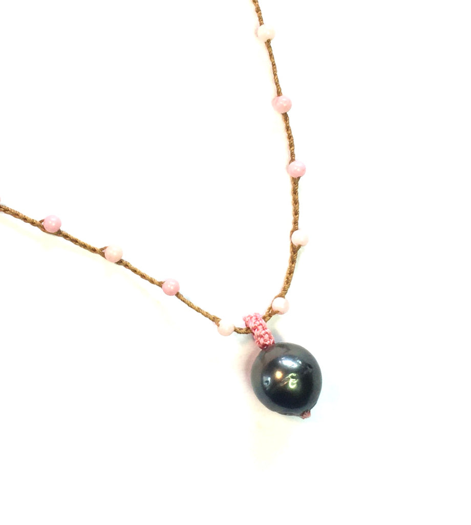 Tahitian Pearl with Coral Necklace