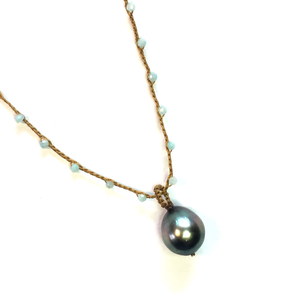 Tahitian Pearl with Amazonite Necklace