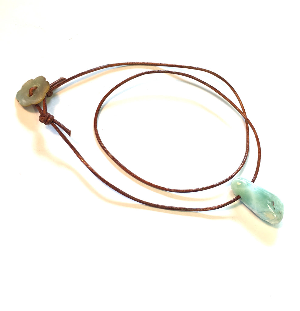 Larimar drop on leather cord