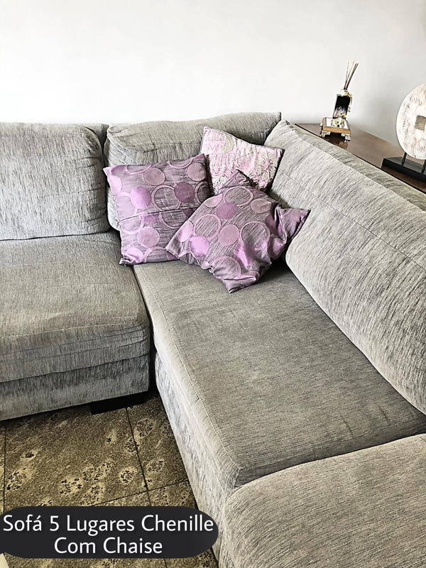 Sofá 5 Lugares Chenille Cinza Com Chaise