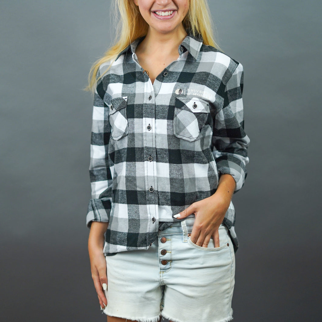 Ladies Black/White Flannel Long-Sleeve Shirt