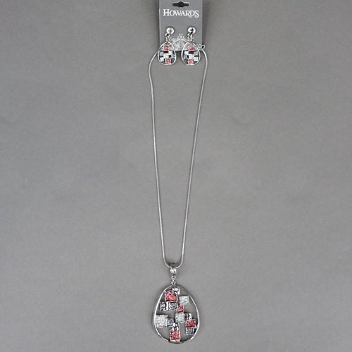 Red and Grey Mosaic Necklace/Earring Set