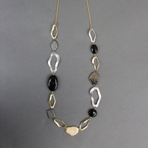 Snake Print Mixed Metal Necklace
