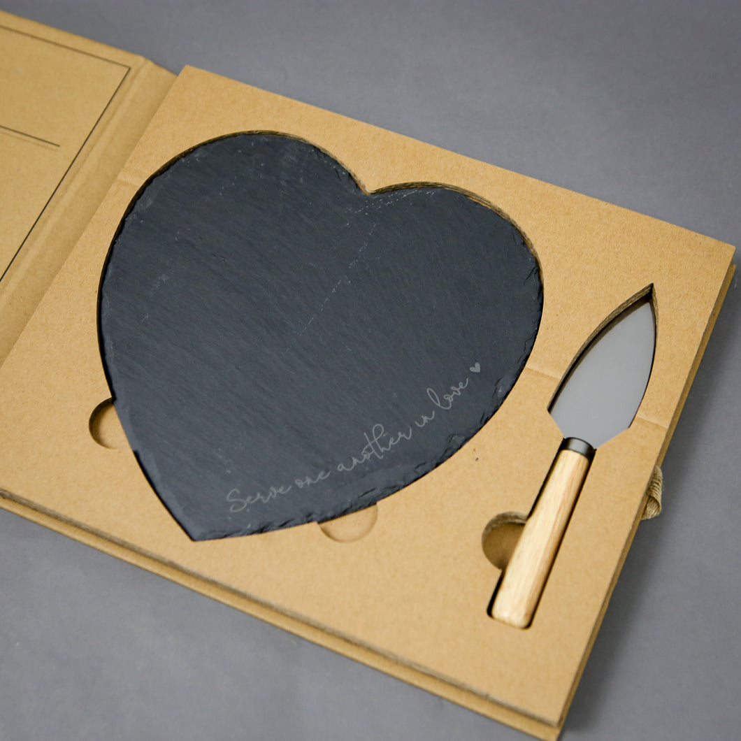 Heart Slate Board Serving Set