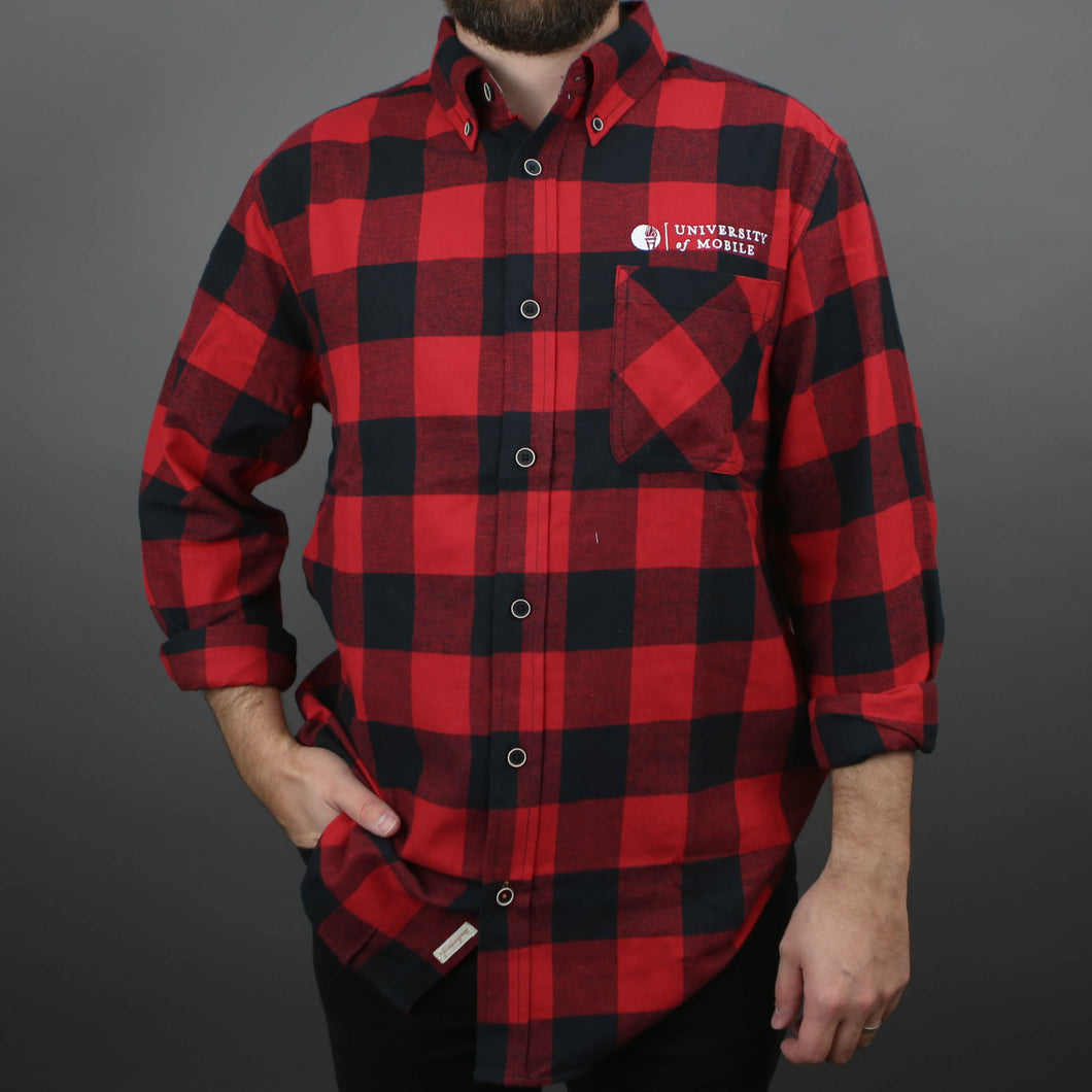 UM Red and Black Flannel Long-Sleeve Shirt