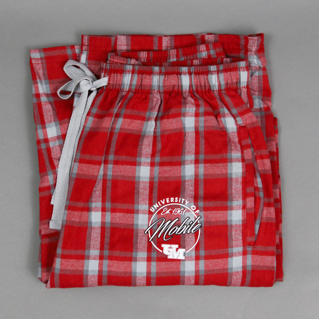 Red Plaid Flannel Sleep/Lounge Pant with UM Logo