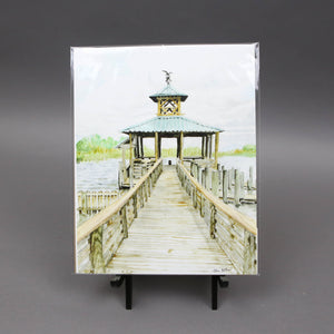 "8""x10"" Dock on Mobile Bay Watercolor Print by Megan Desko Art"