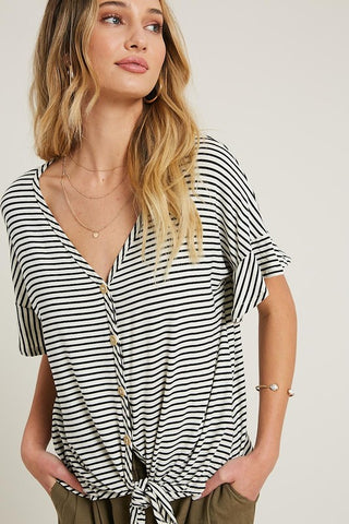 """Steph"" Black & Off White Stripe Short Sleeve Top"