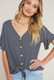"""Tricia"" Navy & White Striped Top"