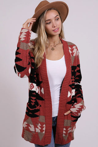 """Los Alamos"" Aztec Knitted Cardigan Top"