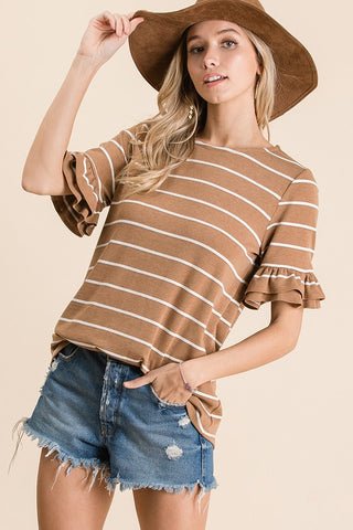 """Adrienne"" Ruffle Tiered Sleeves Striped Top"