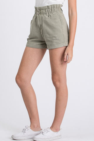 """Amber"" Paperbag Green Khaki Shorts"