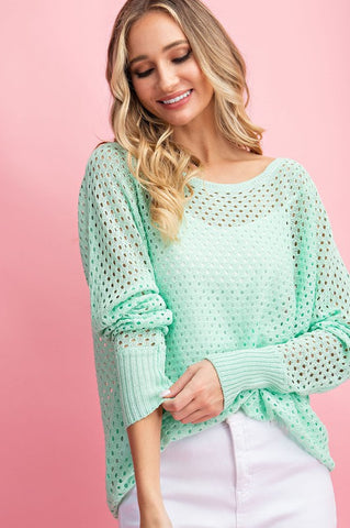 """Cocoa Beach"" Mint Eyelet Knit Sweater Top"
