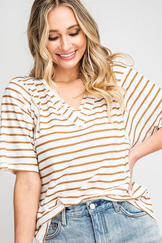 """Micky"" Striped V-Neck Top"