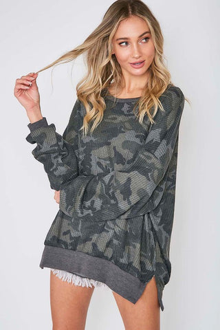 """Big Sky"" Camo Long Sleeve Thermal Top"