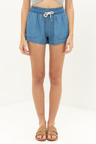 """Katie"" Stretchy Waistband Shorts in Denim Blue"