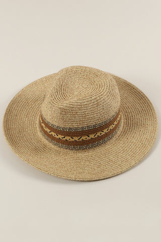 """Cruz"" Straw Panama Hat with Brown Ethnic Weave"