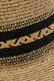 """Chandler"" Straw Panama Hat with Black Ethnic Weave"