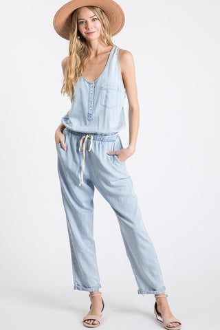 """Chelsea Renee"" Chambray Jumpsuit"