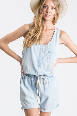 """Hilary Drew"" Chambray Romper"