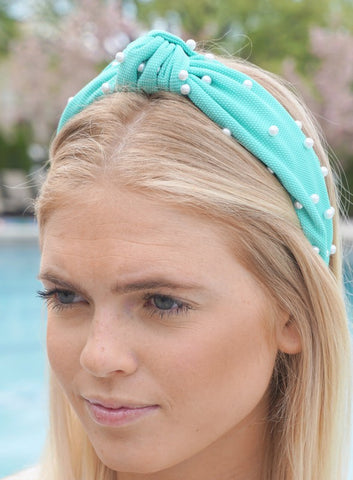 """Courtney"" Spring Pearl Top Knot Headhand in Mint"