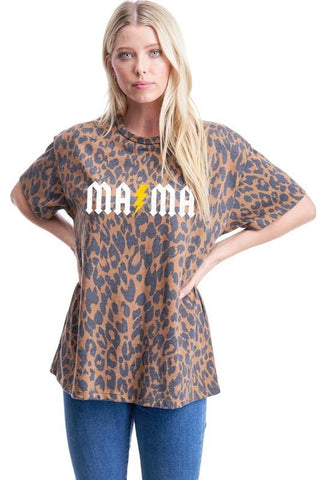 """Mama"" Electric Cheetah Graphic Top"